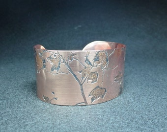 Autumn Leaves Bracelet Wide | Copper Cuff Bracelet | Etched Copper Cuff | Handmade | Gift for her | Textured Copper | Adjustable Bracelet