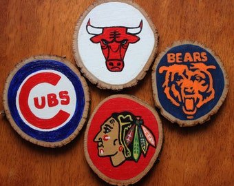 Hand Painted Wood Slice Coaster set  | Chicago Sports teams |