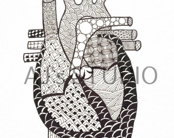 Anatomical Heart Zendoodle, Adult coloring page, Digital print