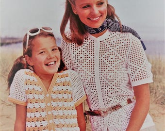 Vintage 1970's Patons crochet pattern booklet - women's and girls cardigans and tops