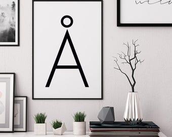 Affiche Scandinave, Printable Wall Art, Typography Print, Scandinavian Print, Letter A print, Nordic Poster, Minimalist Poster, Modern Decor