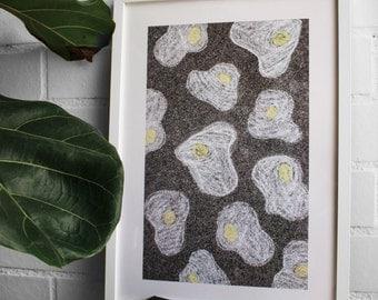 Fried egg A3 Art Print