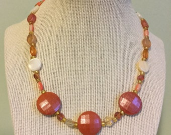 """Upcycled Jewelry """"Just Peachy"""" Beaded Necklace - Made with Vintage/ Recycled Materials"""