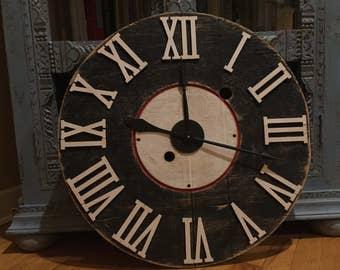 Oversized Wooden Spool Clock - Black, White & Red