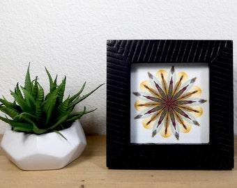 Framed Floral Art Print // 4x4 // Modern Style Frame // Mandala // Small