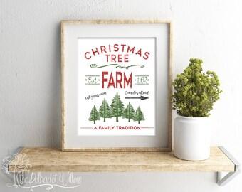 8x10 and 11x14 Christmas Tree Farm Digital Print Subway Art 03 watercolor print printable art wall art Holiday decor