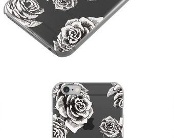 Black Gothic Roses TPU Clear iPhone 7 Case, iPhone 6 Case , iPhone Cases, Rubber Case, Galaxy S7 Case, Galaxy S7 Edge Case, Cell Phone Case