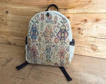 Antique Print Linen Backpack / Bohemian Mini Canvas Backpack / Boho Backpack BARGANZA sorpresa!