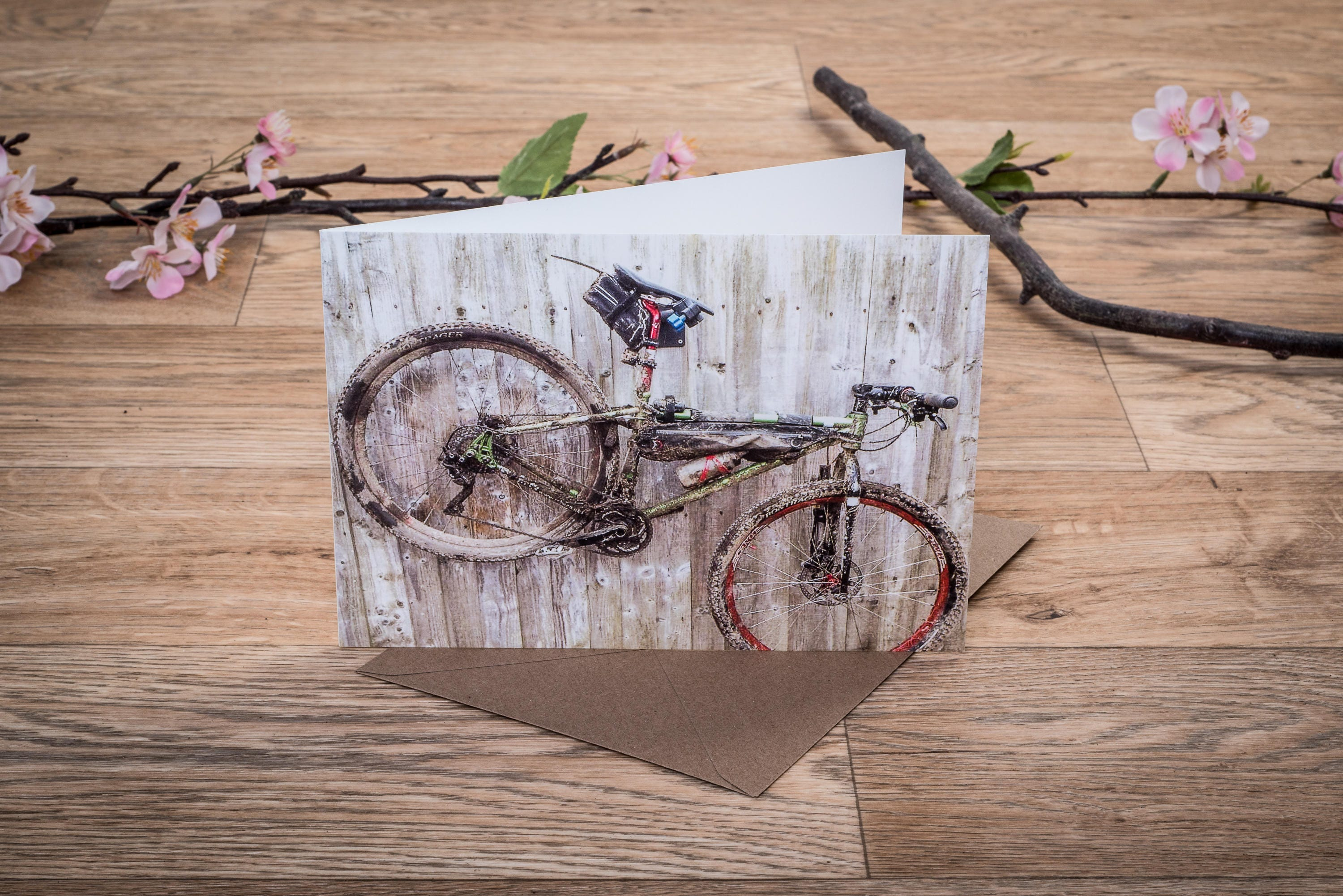 mountain biking blank inside greeting card a5 landscape outdoors