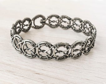 "Silver wire wrapped bracelet. ""Arlene"""