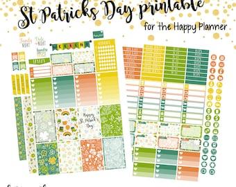 St Patricks Day Weekly Mini Kit    Printable Planner Stickers