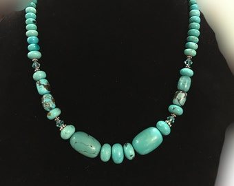 """Genuine Turquoise Chunky 20"""" Necklace with Swarovski Crystals and Sterling Silver"""