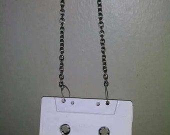 Retro White Cassete Tape Necklace