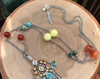 Hamsa Necklace || Boho Necklace || Chakra Necklace || Beaded Necklace || Multi Color Necklace