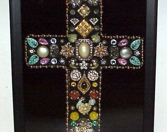 Handcrafted Jeweled Cross Framed Shadow Box Vintage & Modern Jewelry Upcycled
