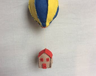 Little red house hot air balloon baby mobile