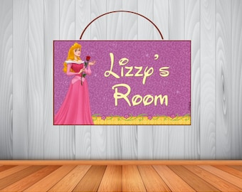 Personalized Aurora Sign, Personalized Sleeping Beauty Sign, Sleeping Beauty Personalized Wooden Name Sign, Sleeping Beauty Room Decor