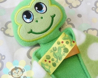 Boy Frog Sensory Security Blanket Lovey/Small Size
