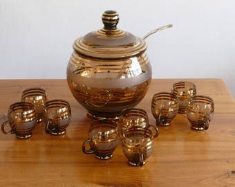Serving punch, sangria cocktail - gold and Crystal - Mid century