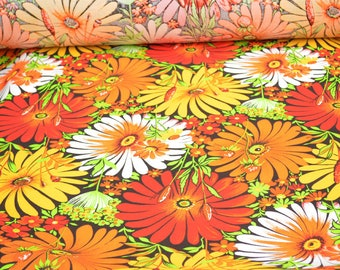Floral Linen fabric by the yard, Pure linen fabric yellow, red, orange, white, green flowers, linen tunic