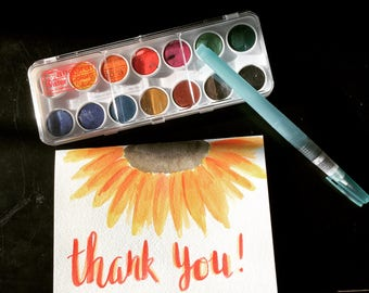 Custom Watercolor Thank You Card - Sunflower