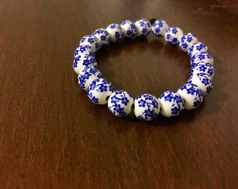 Ceramic Blue and White Flower Bracelet