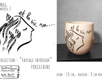 Mug porcelain illustrated, model 2