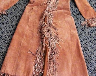 Fringe leather floor length jacket
