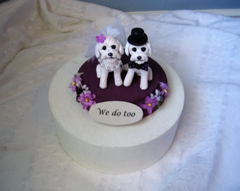Maltese Dogs Wedding Cake Topper, bride and groom, clay, handmade, plum, interactive, OOAK, white fluffy, dog