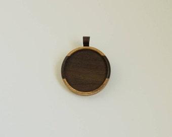 Light large pendant setting finished hardwood - Walnut and Mahogany - 38 mm cavity - (Z383c-WM) - Organic Bail