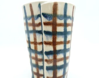 Handbuilt Blue and Brown Plaid Ceramic Tumbler, Drinkware, Barware, Coffee Cup, Slab Built, OOAK Cup, Drippy, Hand Decorated