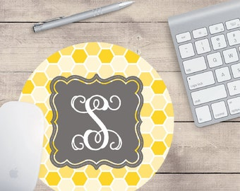 Round monogrammed mousepad in yellow and gray is a great gift and desk accessory