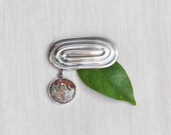 Vintage Modern Mexican Brooch - 925 sterling silver oval pin with round jasper charm - Taxco Mexico D'Elsa TD-83