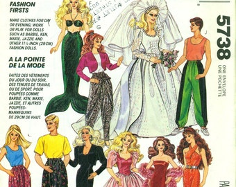 McCall's 5738 BARBIE & KEN Fashion Doll Clothes Pattern MERMAID Costume, Wedding, Formal, Exercise, Work Wardrobe ©1992