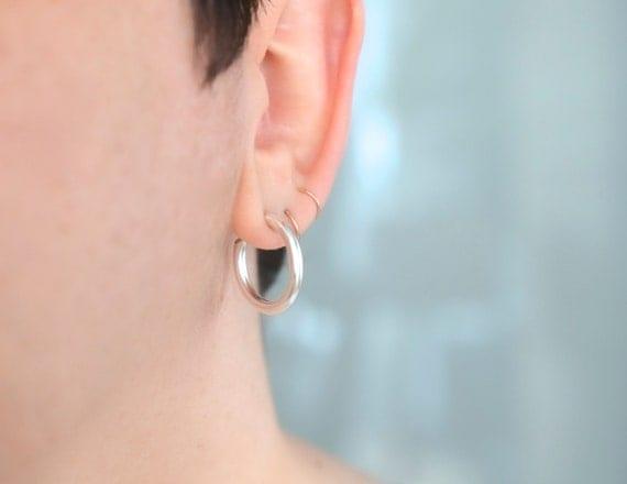 Silver hoop earrings with nickel free posts - silver hoops - nickel free - gift for her - gift for girlfriend - handmade in silver - creole