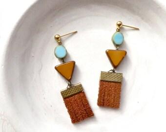 Fringe Earrings / Leather Earrings / Boho Earrings / Tassel Earrings / Beaded Dangle Earrings / Boho Jewelry / Girlfriend Gift / Leather