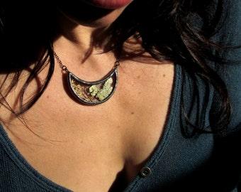 real lichen necklace lichen jewelry sea fan necklace crescent pendant gunmetal jewelry antiqued necklace terrarium necklace LICHEN CRESCENT
