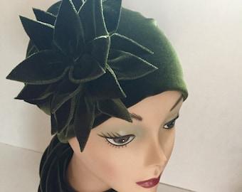 Olive Velvet HerHat With Fuschia Satin Lining
