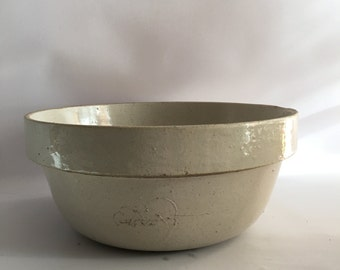 Primitive Mixing Bowl Salt Glaze Stoneware Yellow Ware Extra Large Size 13 Inch Cottage Rustic Decor