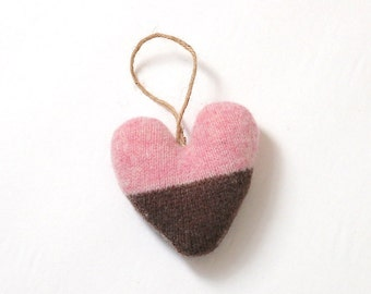 Pink and Brown Valentines Heart Ornament, Valentine's Day Ornament, Valentines Decor, Valentines Heart
