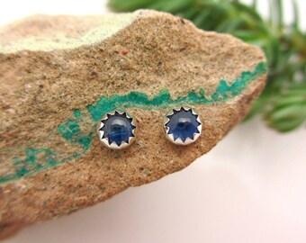 Sapphire Stud Earrings, Blue Cabochon Earrings in Silver, 4mm