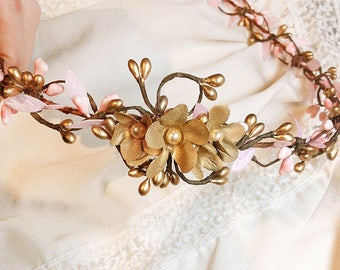 wedding hairpiece, pink and gold headband, gold wedding, bridal headpiece, bridal hair vine, flower crown headband, bridal hair piece, pearl