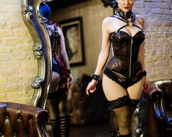 Overbust Corset Vampire - Neck Corset Set Faux Leather Lingerie - Gothic Fetish Victorian Underwear-  Custom to Order