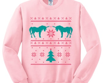 Ugly Christmas Sweater - Unicorn Print on a Soft Pink Sweatshirt - (Sizes S, M, L, XL)