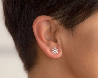 Solid Gold Snowflake Earrings 14k Tiny Dainty Modern Minimal Christmas gift for her womens wife anniversary Sale Black friday fine jewelry