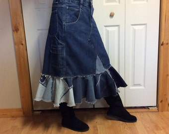 Upcycled Denim Trumpet Skirt/Plus Size Jean Skirt/Midi Skirt/Country Western/Recycled Blue Jeans/Repurposed Clothing/Womens XL/Size 16/18