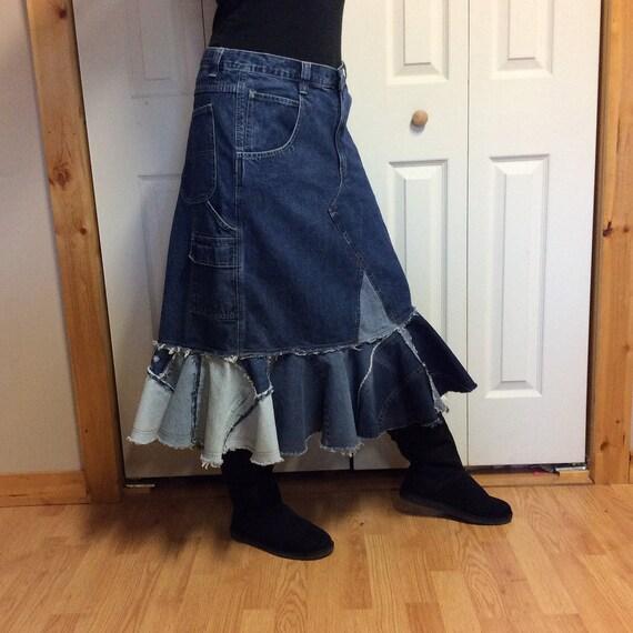 upcycled denim trumpet skirt plus size jean skirt midi