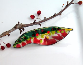 Bold Colorful Copper Enamel Brooch, Art Pin, Leaf Lapel Pin, Vitreous Enamel, Handmade Copper, Flora Series, WillOaks Studio Original