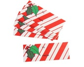 """Set of 2.8"""" x 1.1"""" Vintage Paper To/From Christmas Themed Holiday Gift Tags - Candy Cane Background, Holly Berry Leaf Motif (11pcs)"""