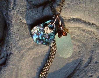 Genuine Sea Glass & Abalone Shell Necklace, Rare Seaglass Stopper Stem Pendant Necklace, Beach Sea Glass Jewelry